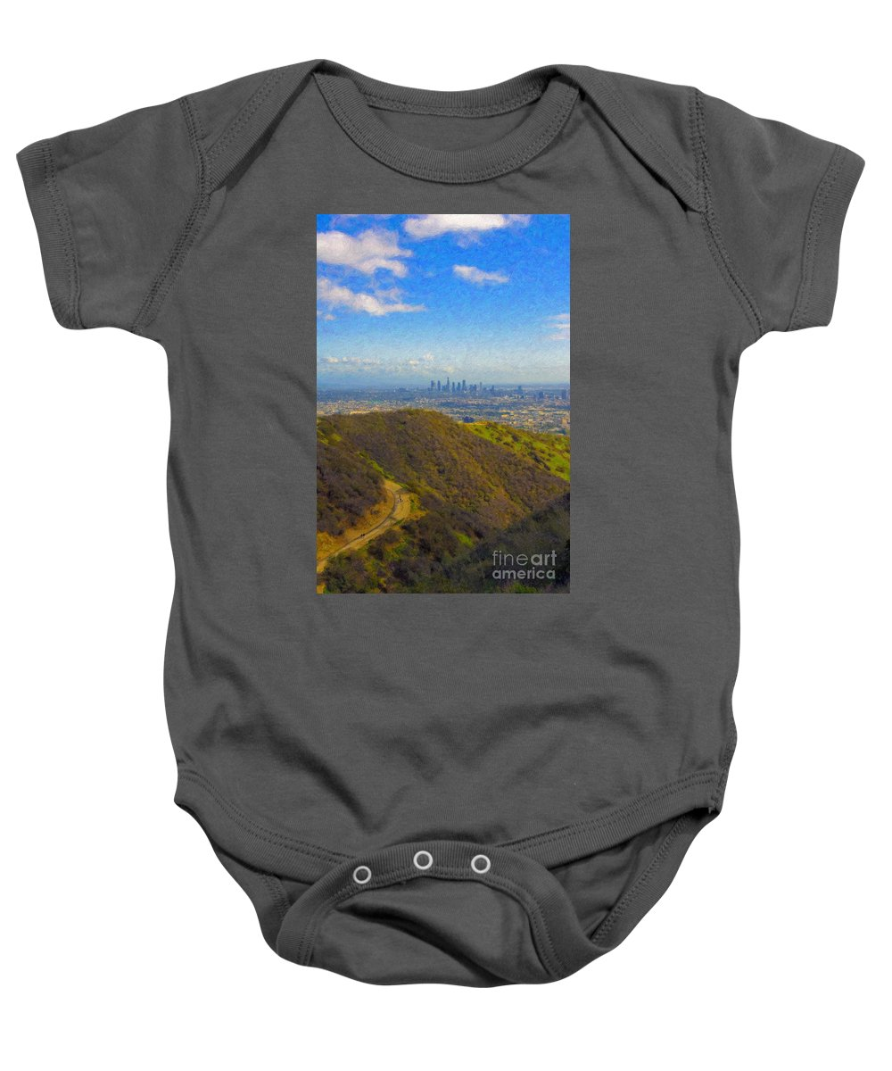 Los Angeles Ca Skyline Hollywood Runyon Canyon Hiking Trail Baby Onesie featuring the photograph Los Angeles Ca Skyline Runyon Canyon Hiking Trail by David Zanzinger