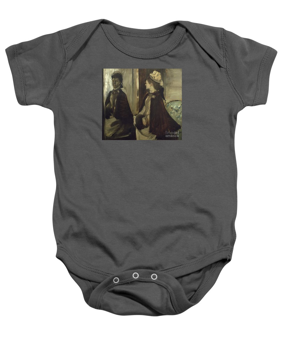 Edgar Degas (1834 - 1917) - Madame Jeantaud In The Mirror Baby Onesie featuring the painting Madame Jeantaud In The Mirror by MotionAge Designs