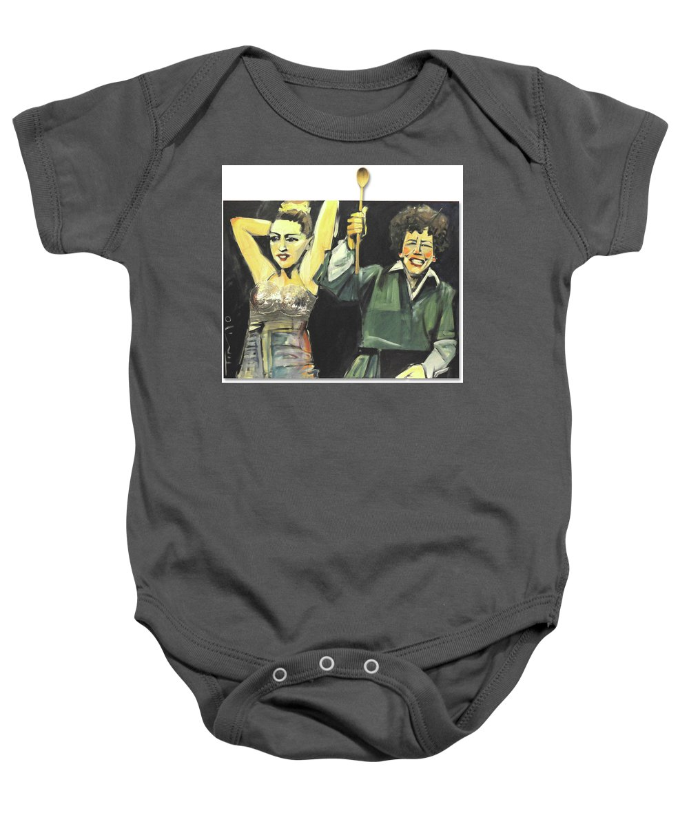 Madonna Baby Onesie featuring the painting Madonna And Child by Tim Nyberg