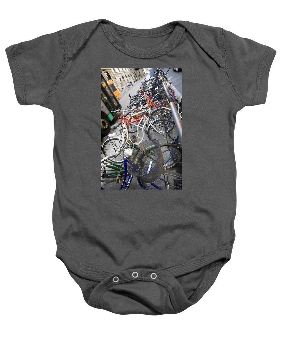 Bike Baby Onesie featuring the photograph Many Bikes by Marilyn Hunt