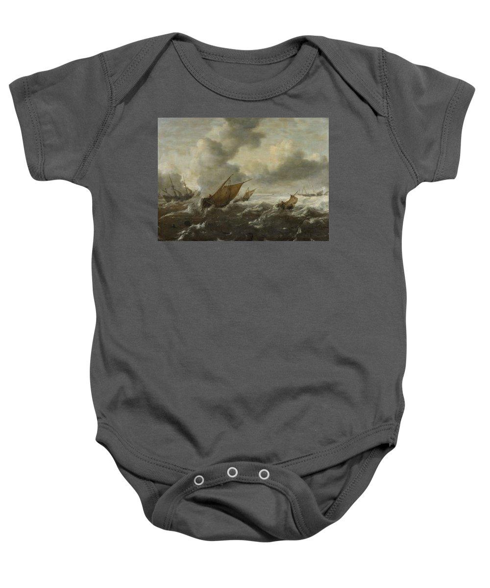 Abraham Van Beyeren Baby Onesie featuring the painting Maritime Scene With Stormy Seas by Abraham van