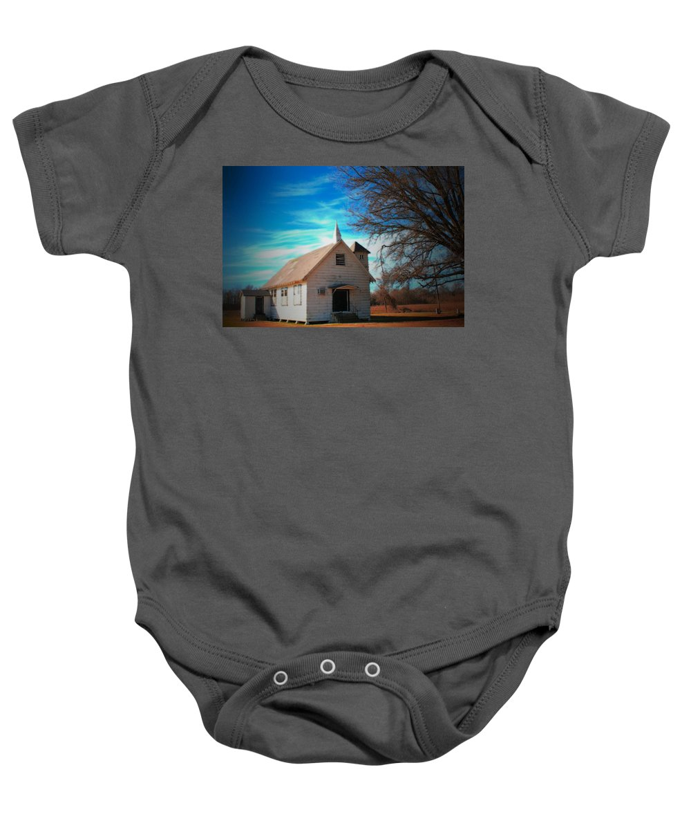 Church Baby Onesie featuring the photograph Marsh Berea Church by Karen Wagner