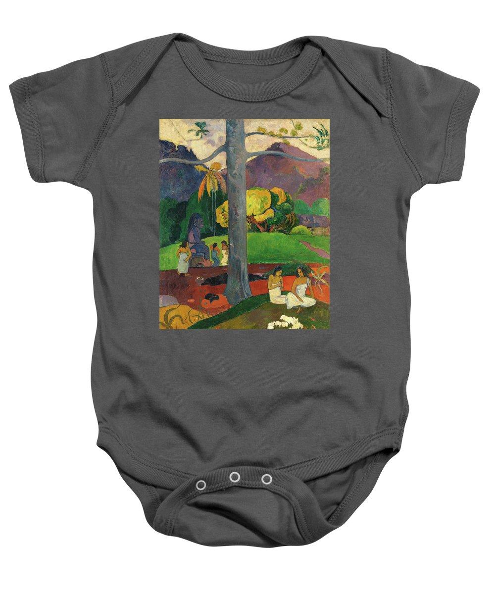Mata Mua Baby Onesie featuring the painting Mata Mua by Paul Gauguin