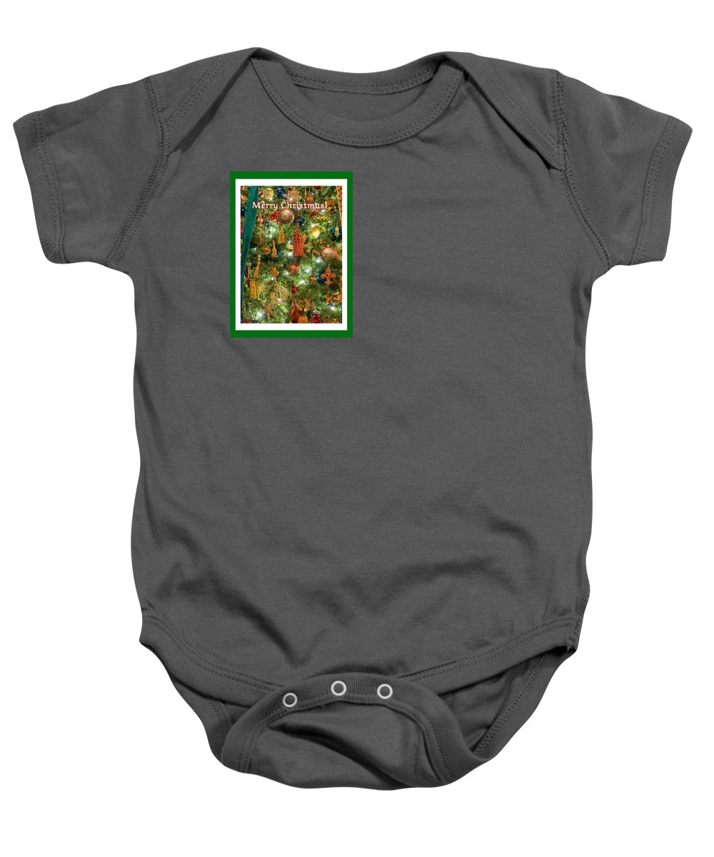 Cardinal Red Bird Fowl Pine Tree Christmas Tree Light Midwest Greeting Card Winter December 25th Baby Onesie featuring the photograph A Merry Christmas by Diane Lindon Coy