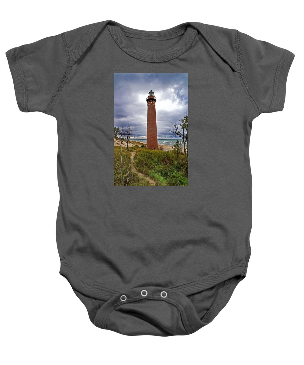 Little Sable Point Lighthouse Baby Onesie featuring the photograph Michigan Lighthouse by Martin Massari