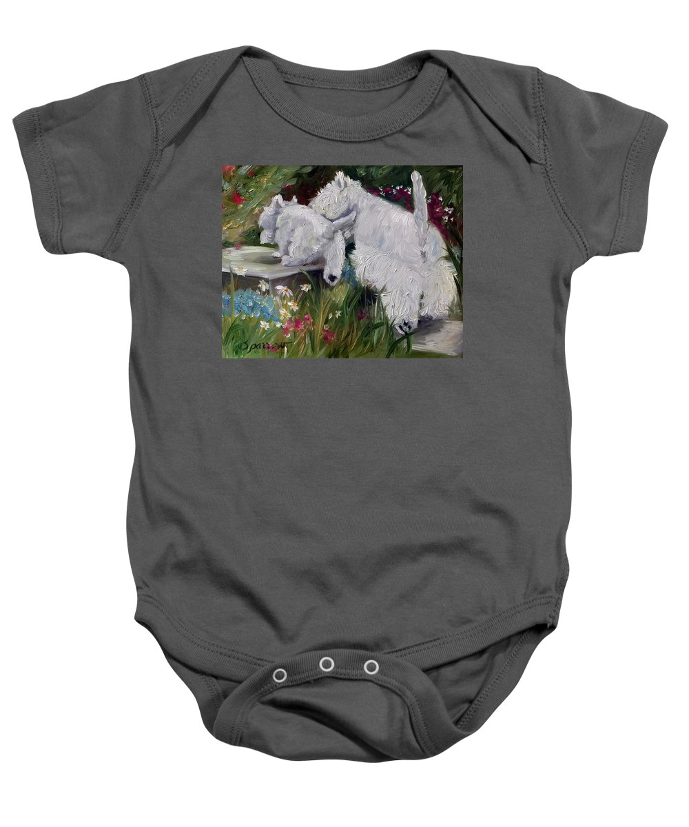 Westie Baby Onesie featuring the painting Mother's Day by Mary Sparrow