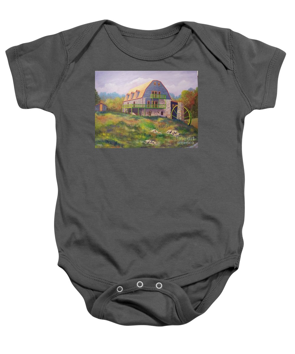 Mill Baby Onesie featuring the painting Mountain Mill by Hugh Harris