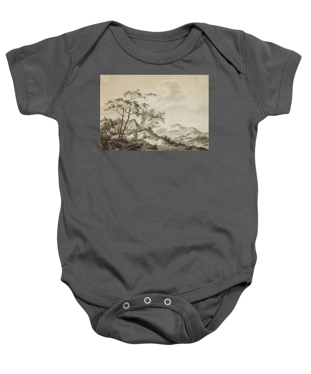 Barend Cornelis Koekkoek Baby Onesie featuring the painting Mountainous Landscape With Three Ramblers by MotionAge Designs