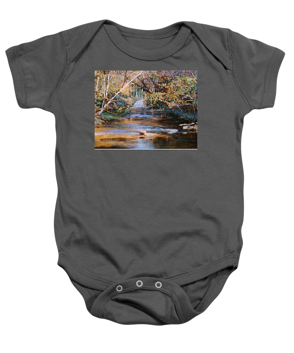 River; Waterfalls Baby Onesie featuring the painting My Secret Place by Ben Kiger