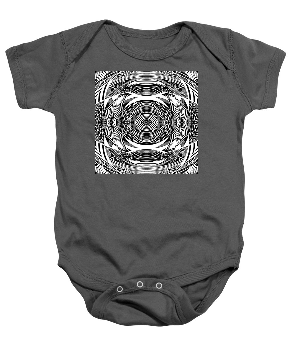 Pattern Baby Onesie featuring the digital art Mystical Eye - Abstract Black And White Graphic Drawing by Nenad Cerovic