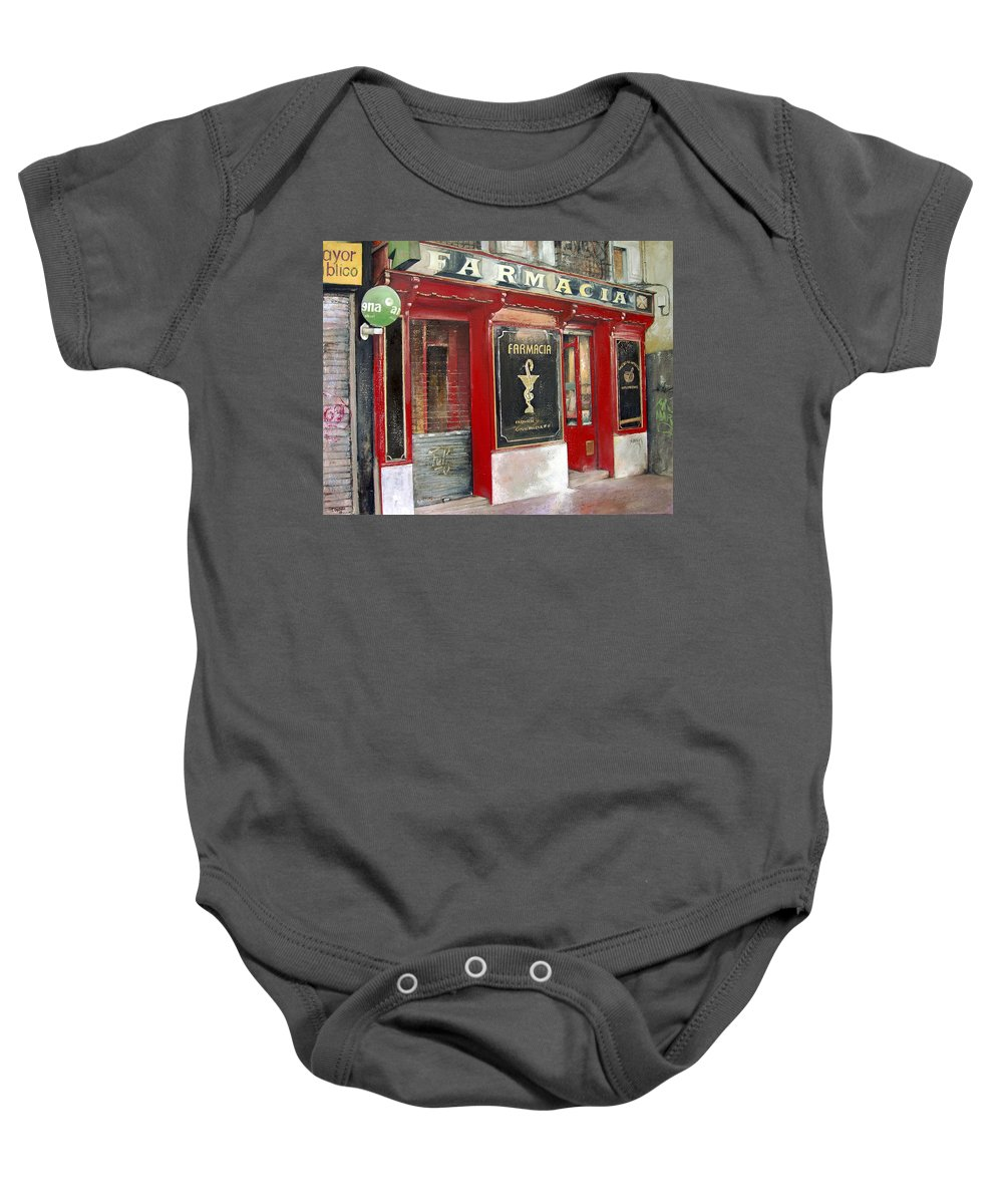 Farmacia Baby Onesie featuring the painting Old Pharmacy by Tomas Castano