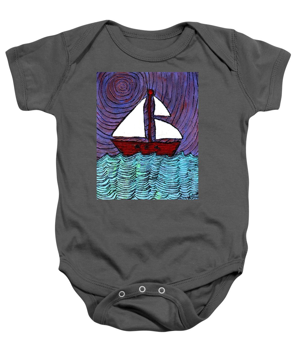 River Baby Onesie featuring the painting On The River by Wayne Potrafka