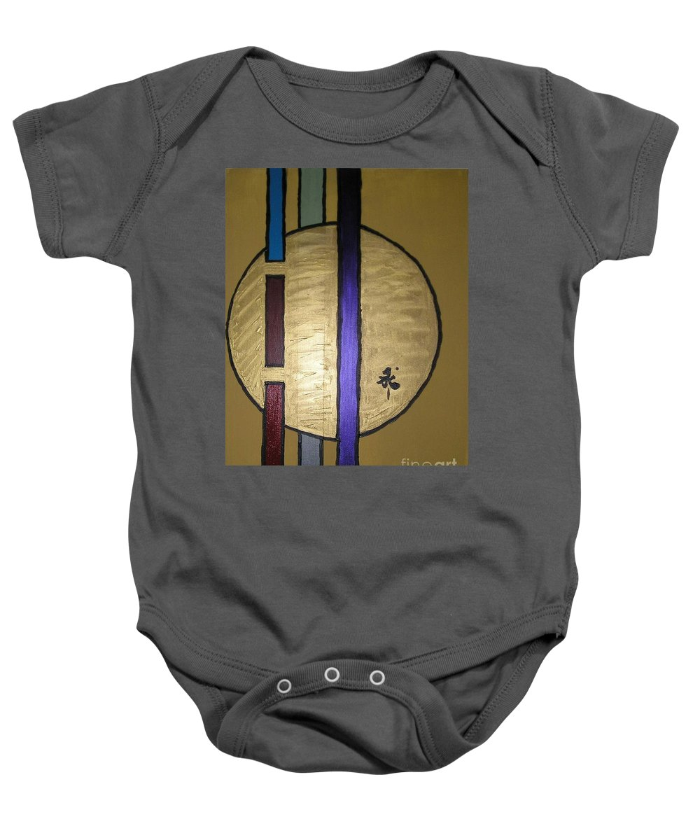 Red Baby Onesie featuring the painting Oro by Maria Bonnier-Perez