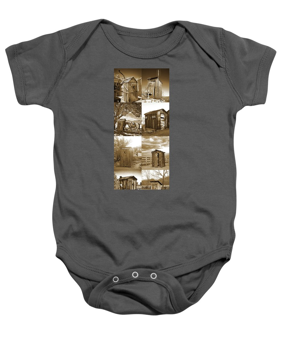 Outhouses Baby Onesie featuring the photograph Outhouse Panel Vertical, Sepia by Don Schimmel