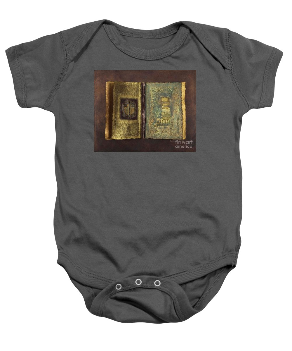 Artist-book Baby Onesie featuring the mixed media Page Format No 1 Transitional Series by Kerryn Madsen-Pietsch
