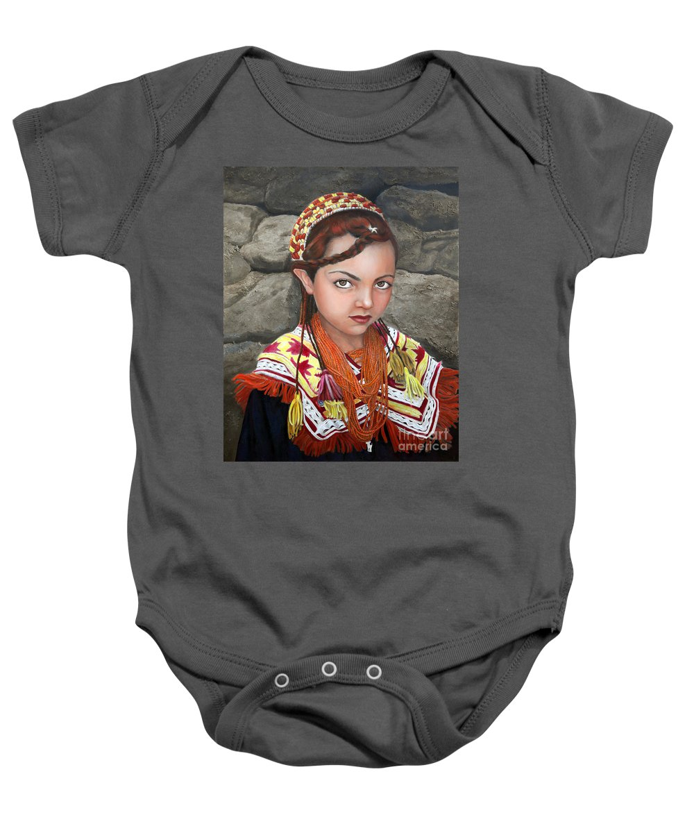 Figurative Art Baby Onesie featuring the painting Pakistani Girl by Portraits By NC