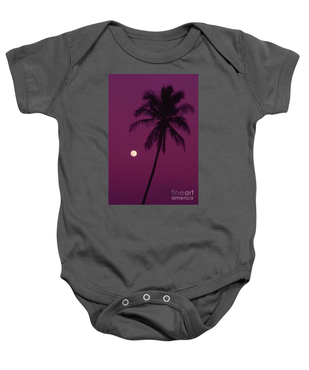 Bright Baby Onesie featuring the photograph Palm Tree And Moon by Ron Dahlquist - Printscapes