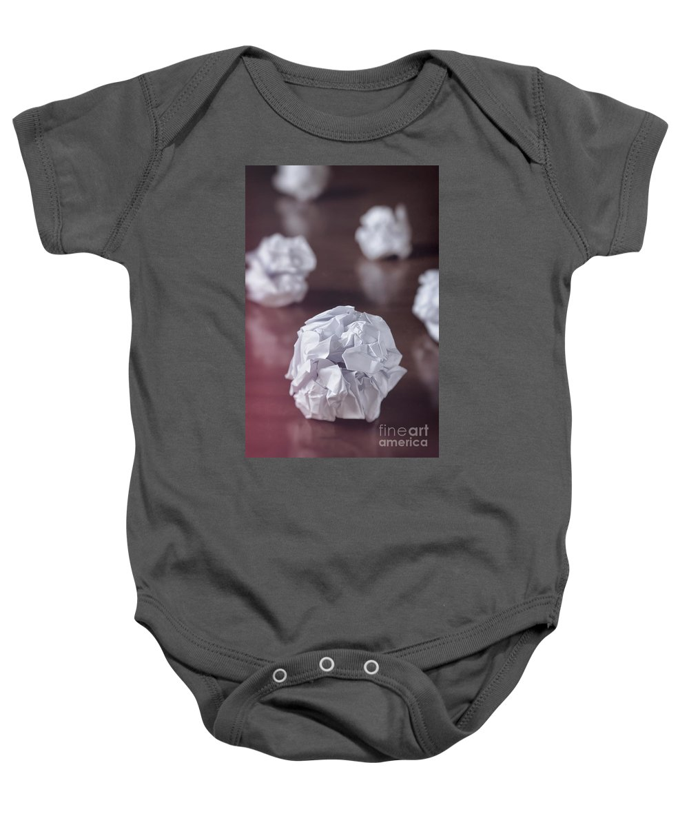 Abstract Baby Onesie featuring the photograph Paper Balls by Carlos Caetano