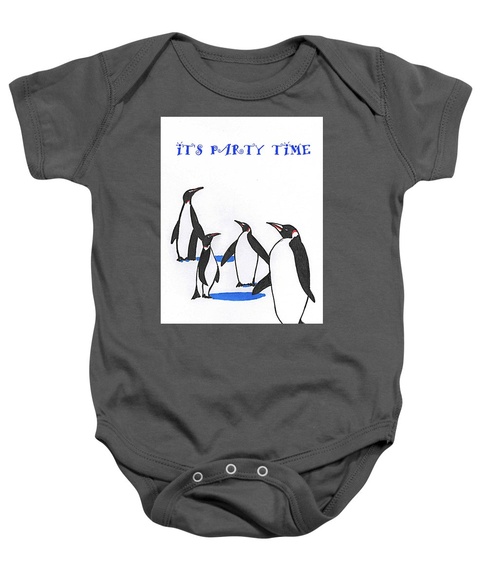 Prints Baby Onesie featuring the drawing Party Time by Al Pascucci