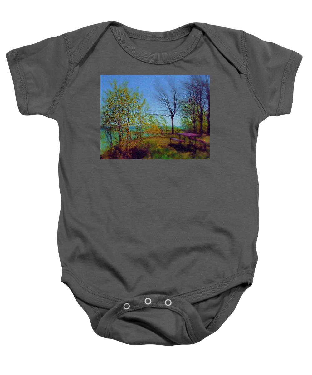 Lake Baby Onesie featuring the digital art Picnic Table By The Lake by Anita Burgermeister