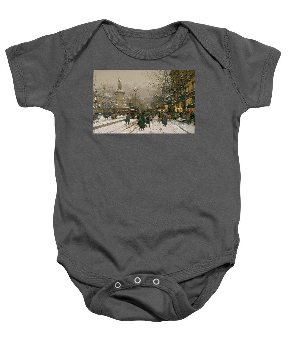 Eugène Galien-laloue (1854-1941)-'place De La Republique In Winter' Baby Onesie featuring the painting Place De La Republique In Winter by MotionAge Designs