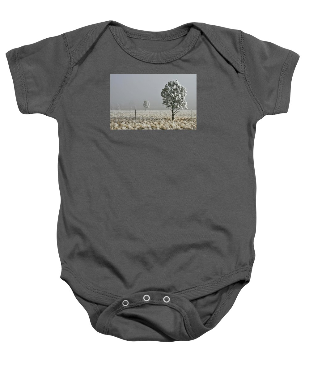 Pogonip Baby Onesie featuring the photograph Pogonip Frosty Morning by Judithann O'Toole