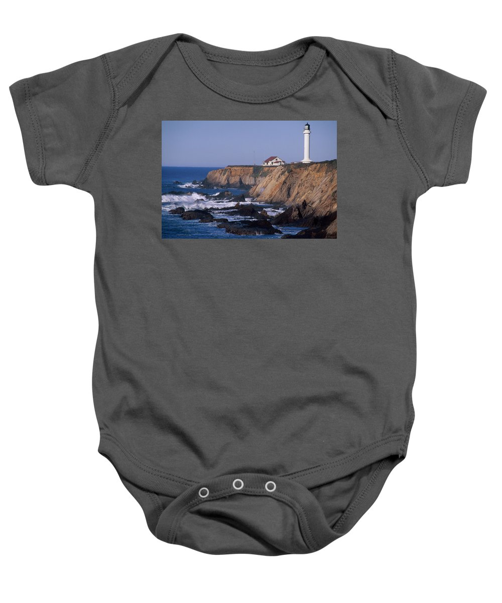 Point Arena Lighthouse Baby Onesie featuring the photograph Point Arena Lighthouse by Soli Deo Gloria Wilderness And Wildlife Photography