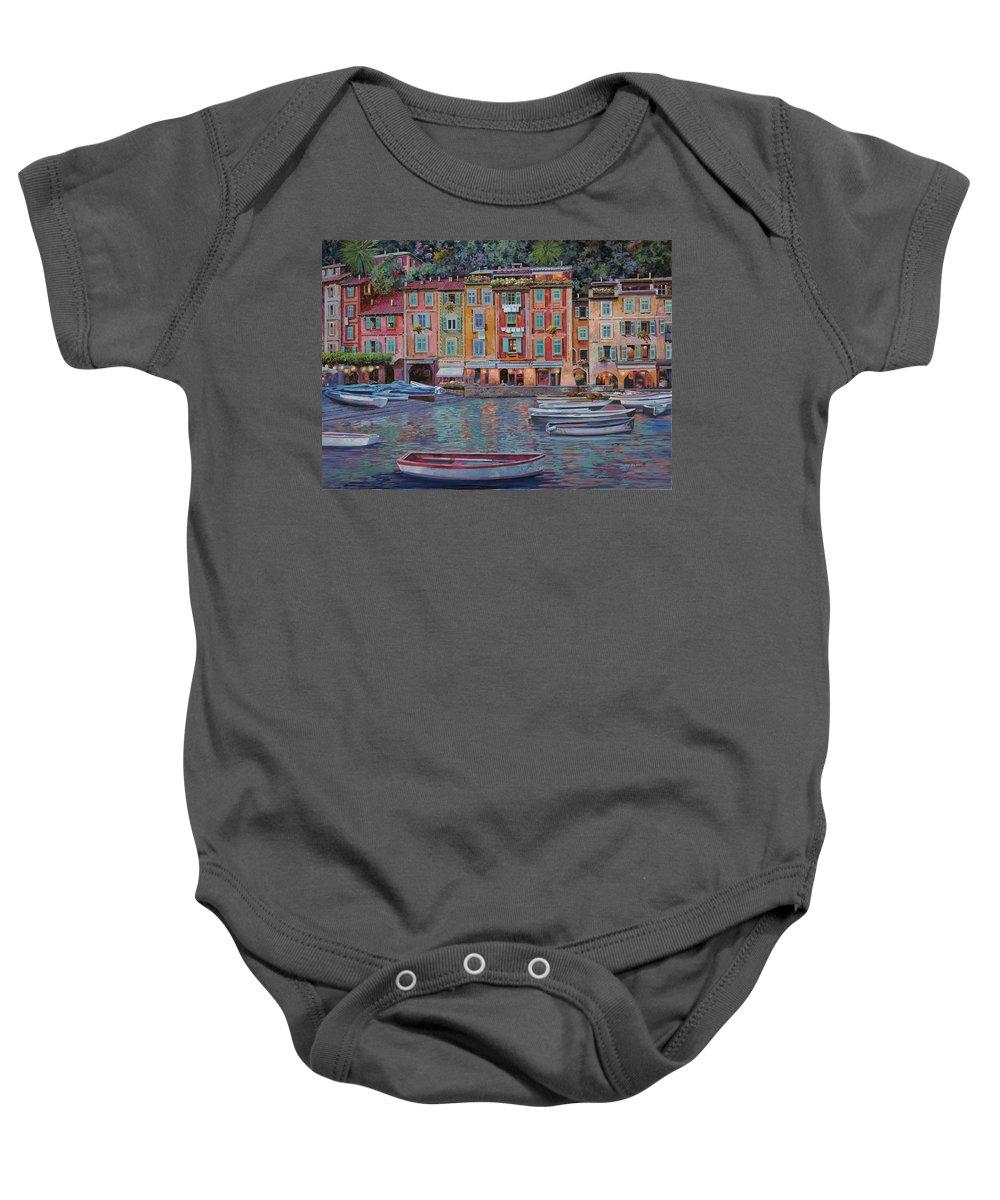 Portofino Baby Onesie featuring the painting Portofino Al Crepuscolo by Guido Borelli