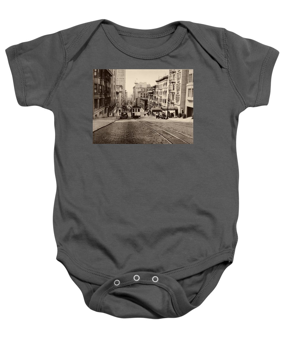 Cityscape Baby Onesie featuring the photograph Powell Street Hill - San Francisco 1945 by Mountain Dreams