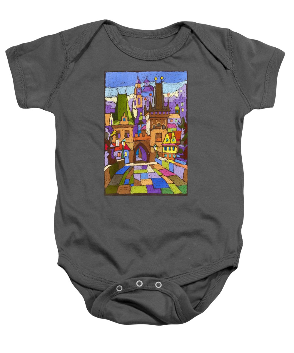 Pastel Baby Onesie featuring the painting Prague Charles Bridge 01 by Yuriy Shevchuk