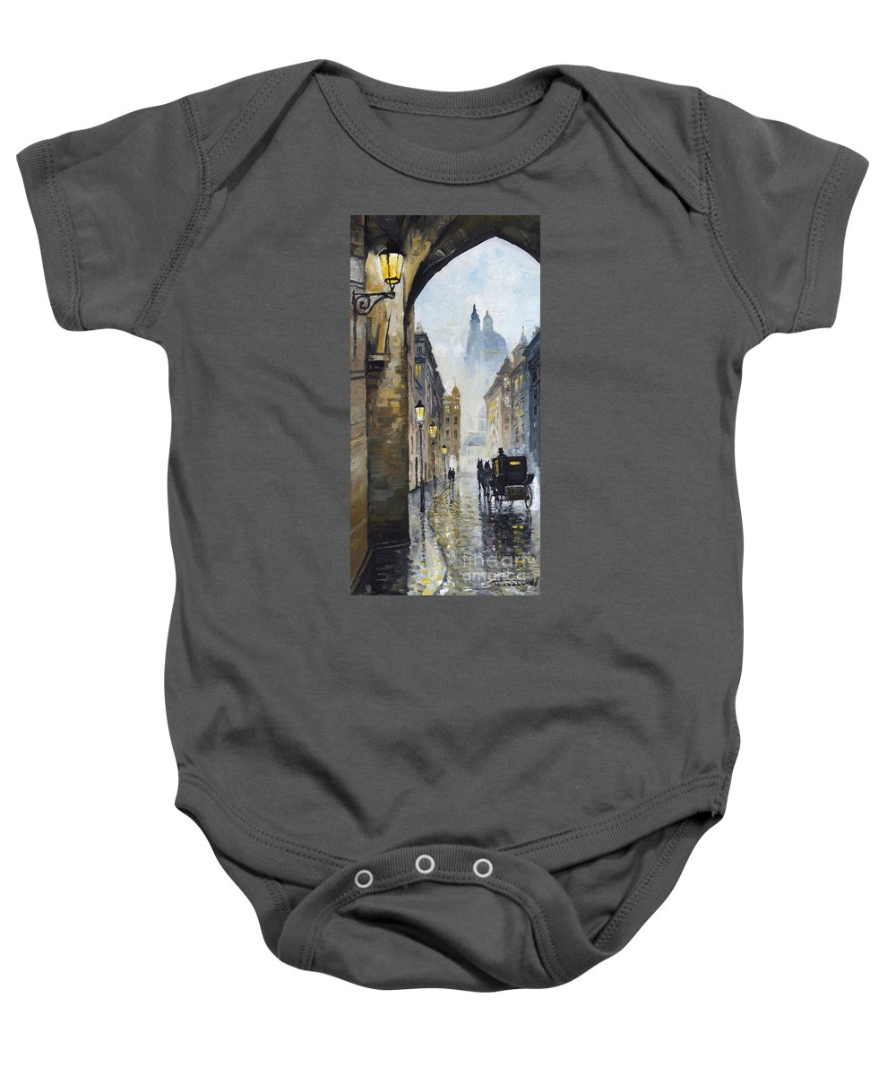 Prague Baby Onesie featuring the painting Prague Old Street 01 by Yuriy Shevchuk