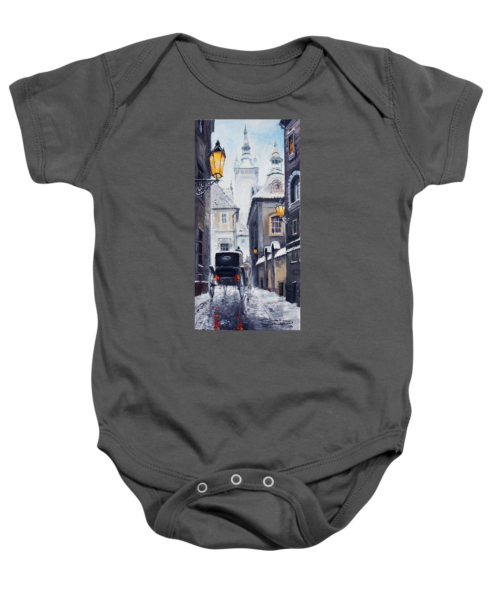 Oil Baby Onesie featuring the painting Prague Old Street 02 by Yuriy Shevchuk