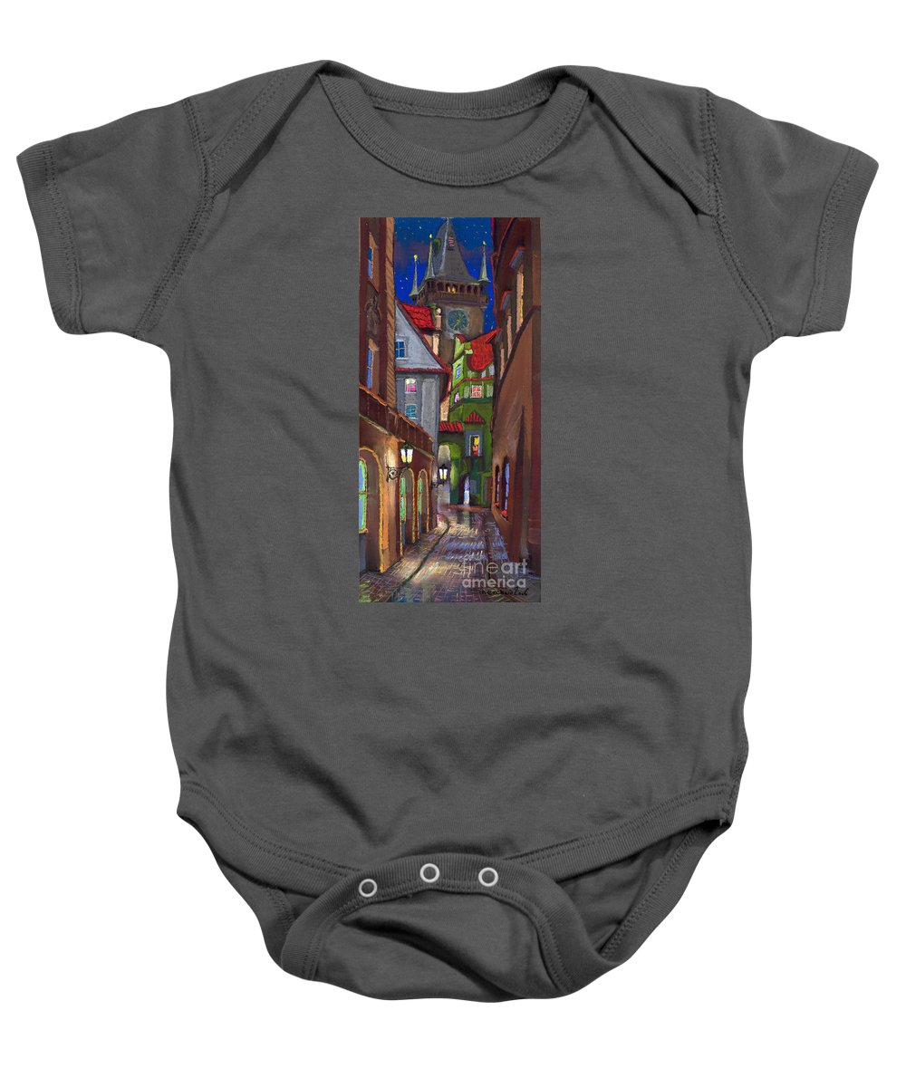Pastel Baby Onesie featuring the painting Prague Old Street by Yuriy Shevchuk
