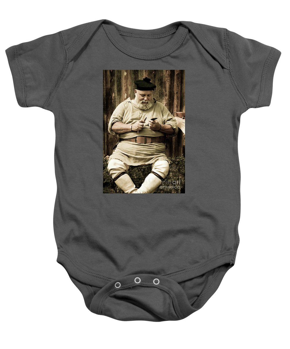 Re-enactment Baby Onesie featuring the photograph Primitive Man by Kim Henderson