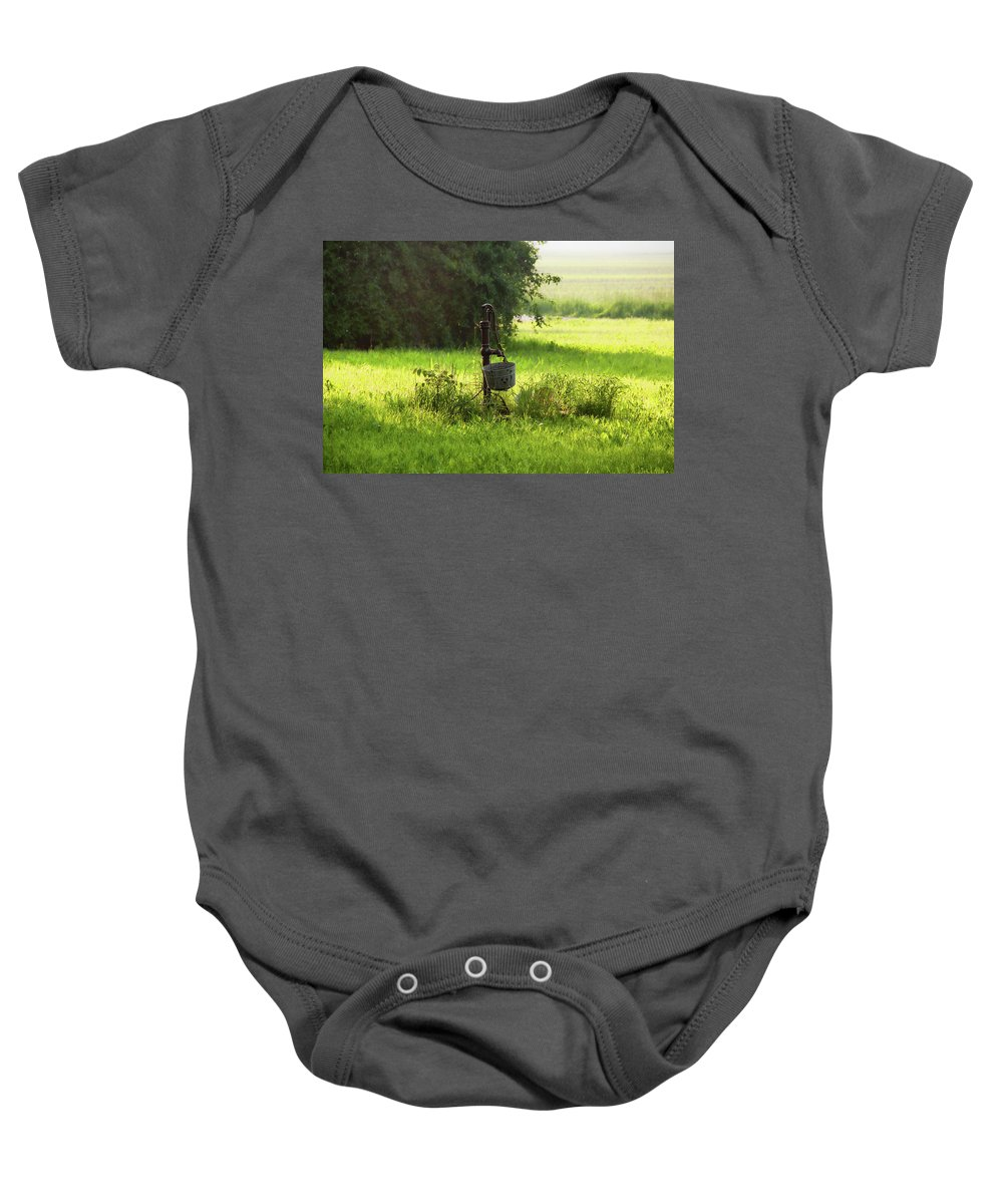 Pump Baby Onesie featuring the photograph Pump And Bucket by David Arment
