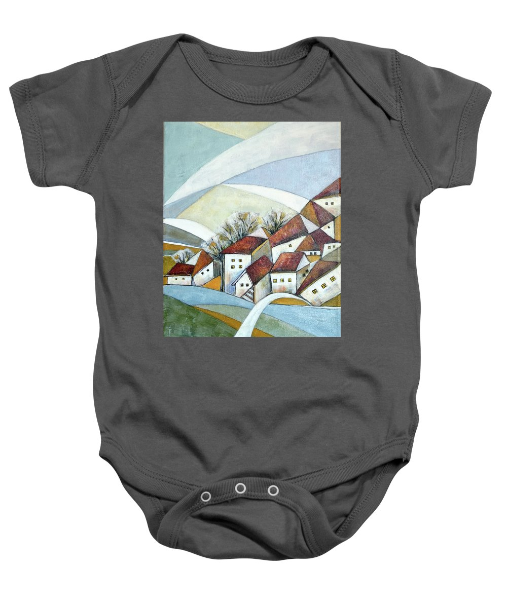Abstract Baby Onesie featuring the painting Quiet Village by Aniko Hencz