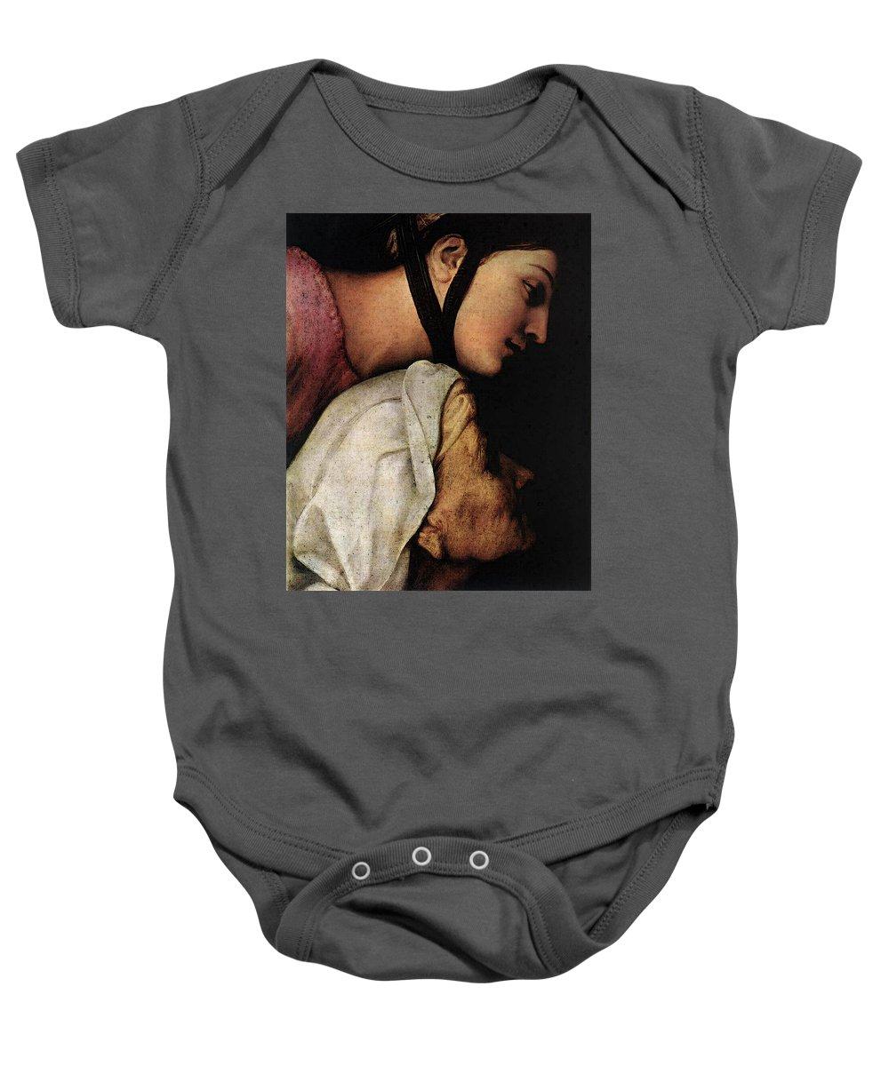 Raphael Madonna Dell Impannata Baby Onesie featuring the digital art Raphael Madonna Dell Impannata by PixBreak Art
