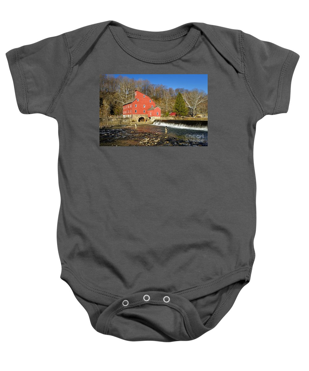 Mill Baby Onesie featuring the photograph Red Mill by Paul Fell