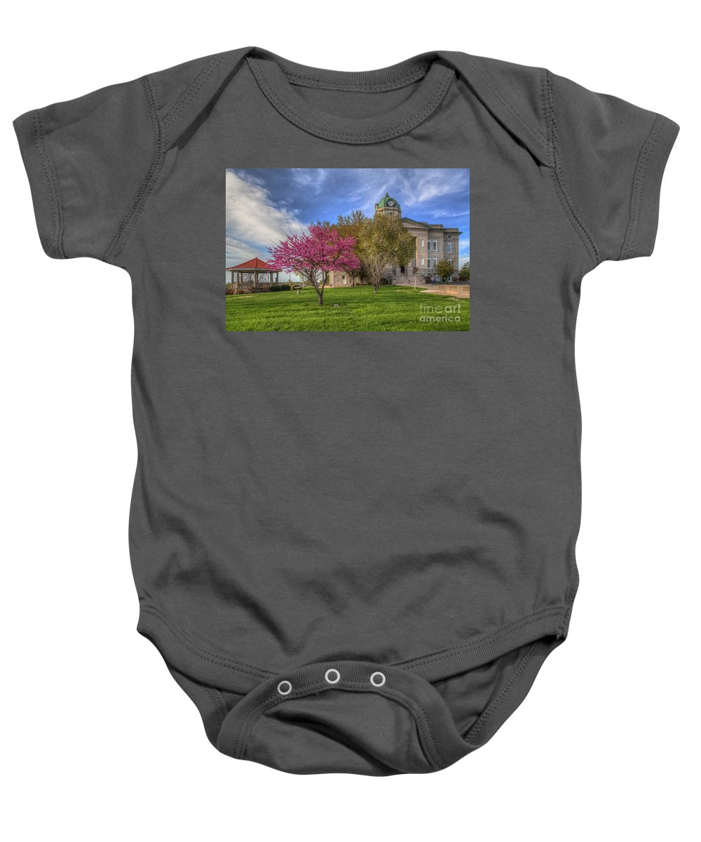 2015 Baby Onesie featuring the photograph Redbud At The Courthouse by Larry Braun