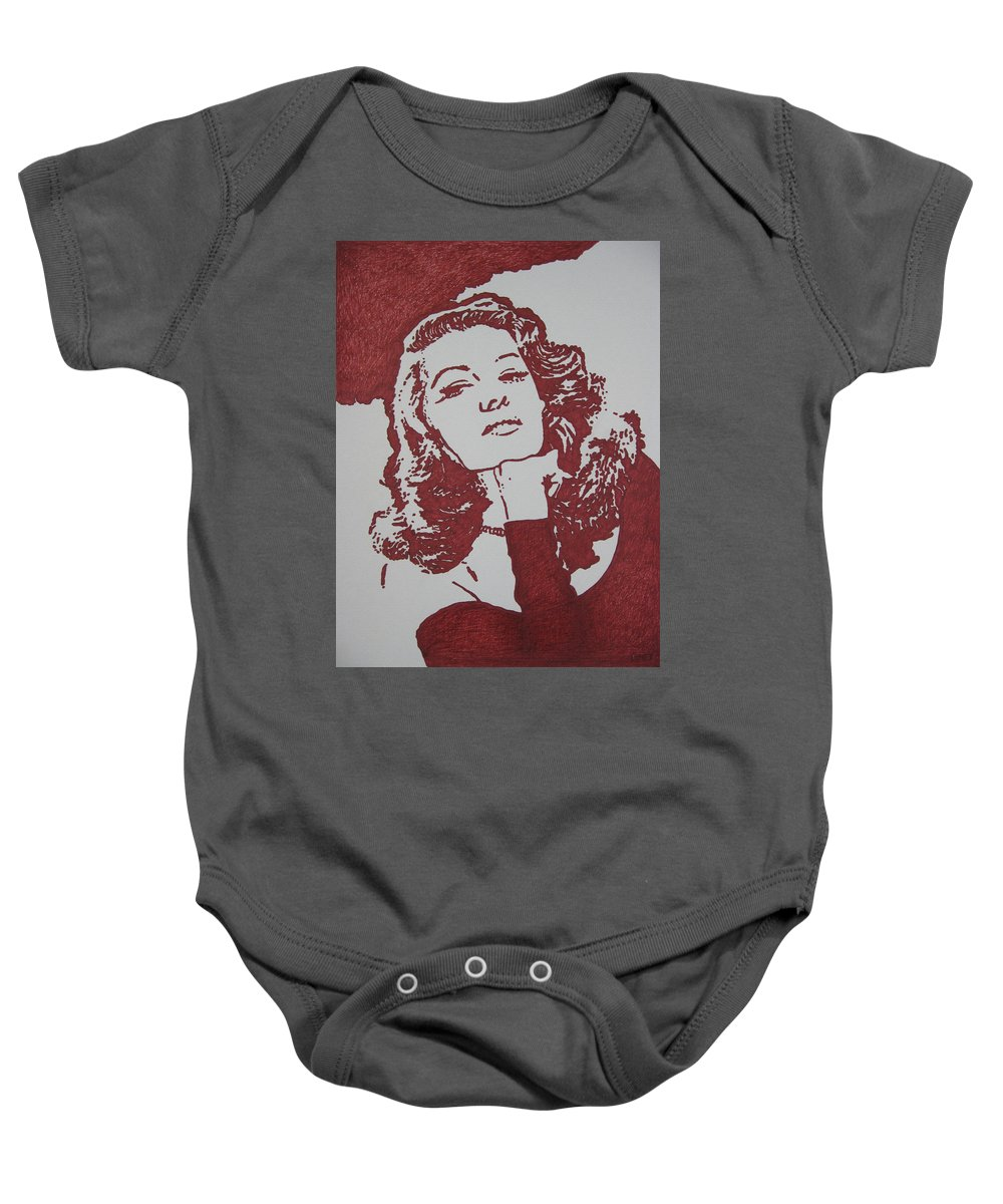 Rita Baby Onesie featuring the drawing Rita by Lynet McDonald
