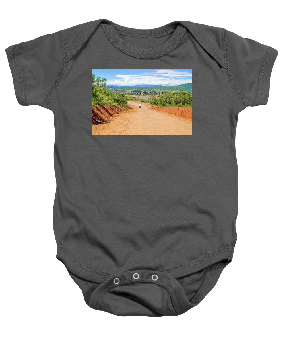 People Baby Onesie featuring the photograph Road Landscape In Tanzania by Marek Poplawski