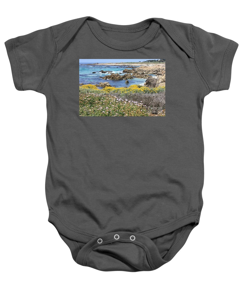 California Baby Onesie featuring the photograph Rocky Surf With Wildflowers by Carol Groenen