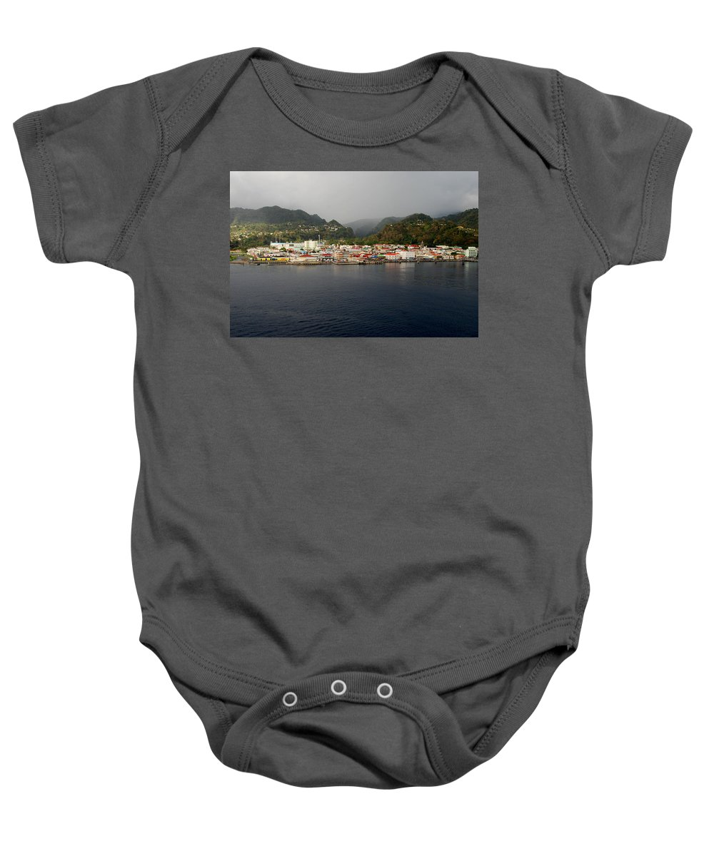 Island Paradise Baby Onesie featuring the photograph Roseau Dominica by Gary Wonning