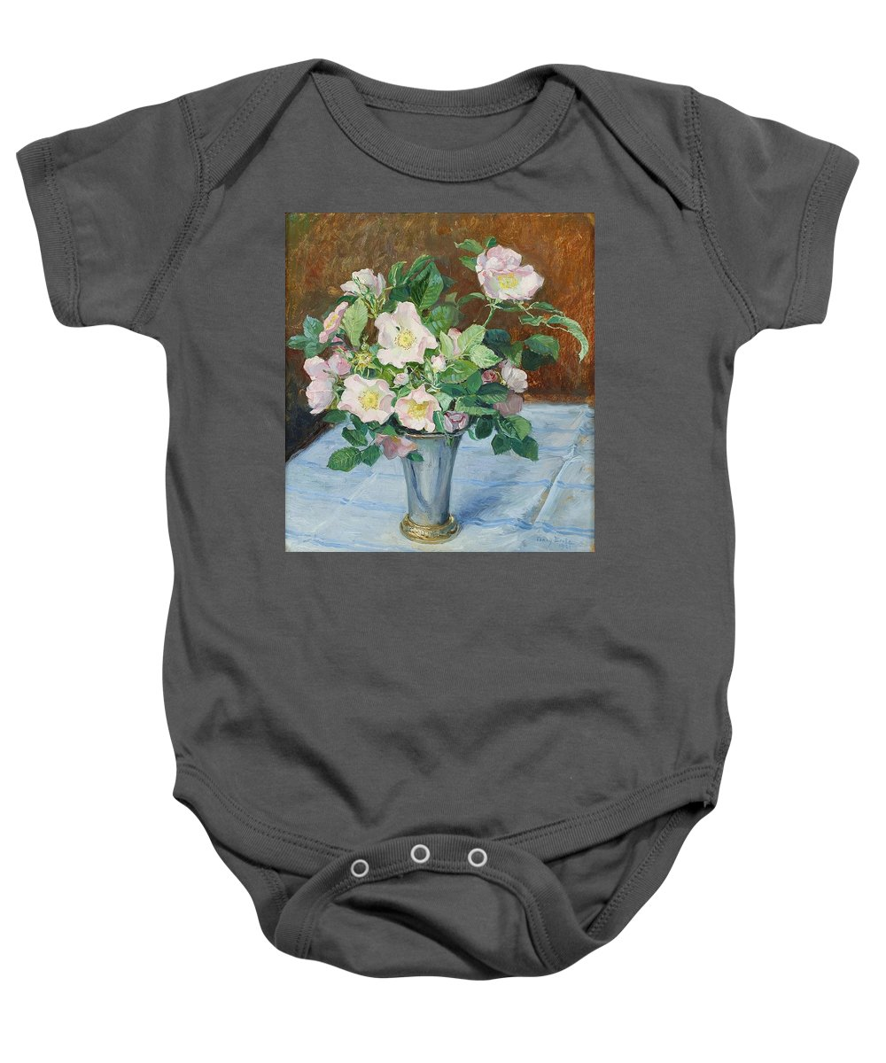 Fanny Brate 1861-1940 Rosehip Flowers Baby Onesie featuring the painting Rosehip Flowers by MotionAge Designs