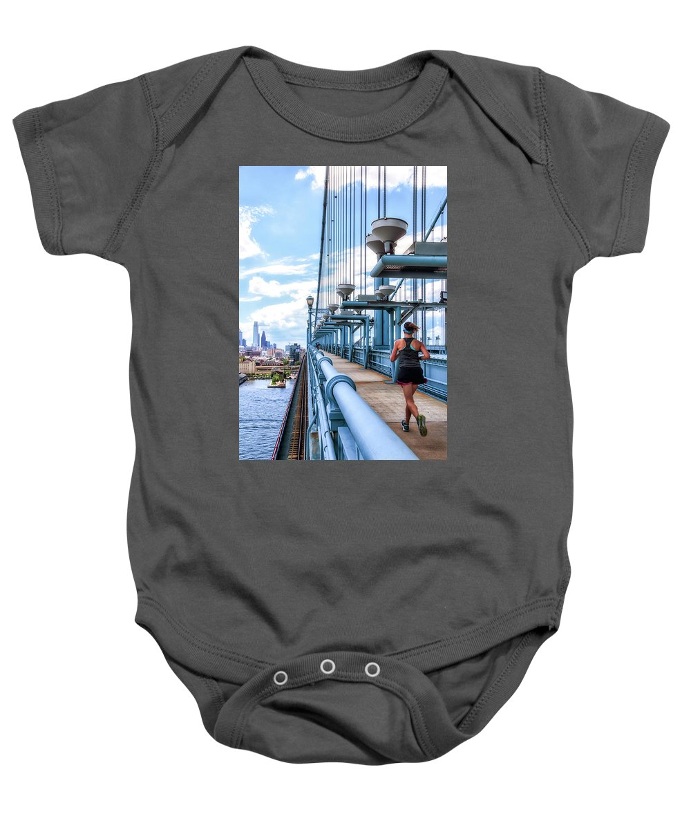 Philly Baby Onesie featuring the photograph Running The Bridge by Carol Ward
