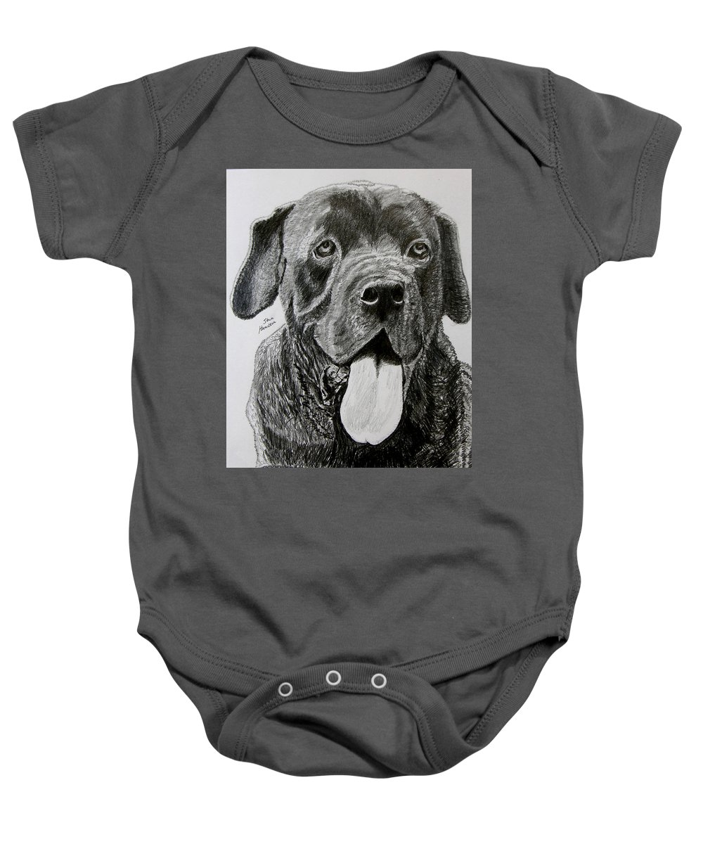 Dog Portrait Baby Onesie featuring the drawing Sampson by Stan Hamilton