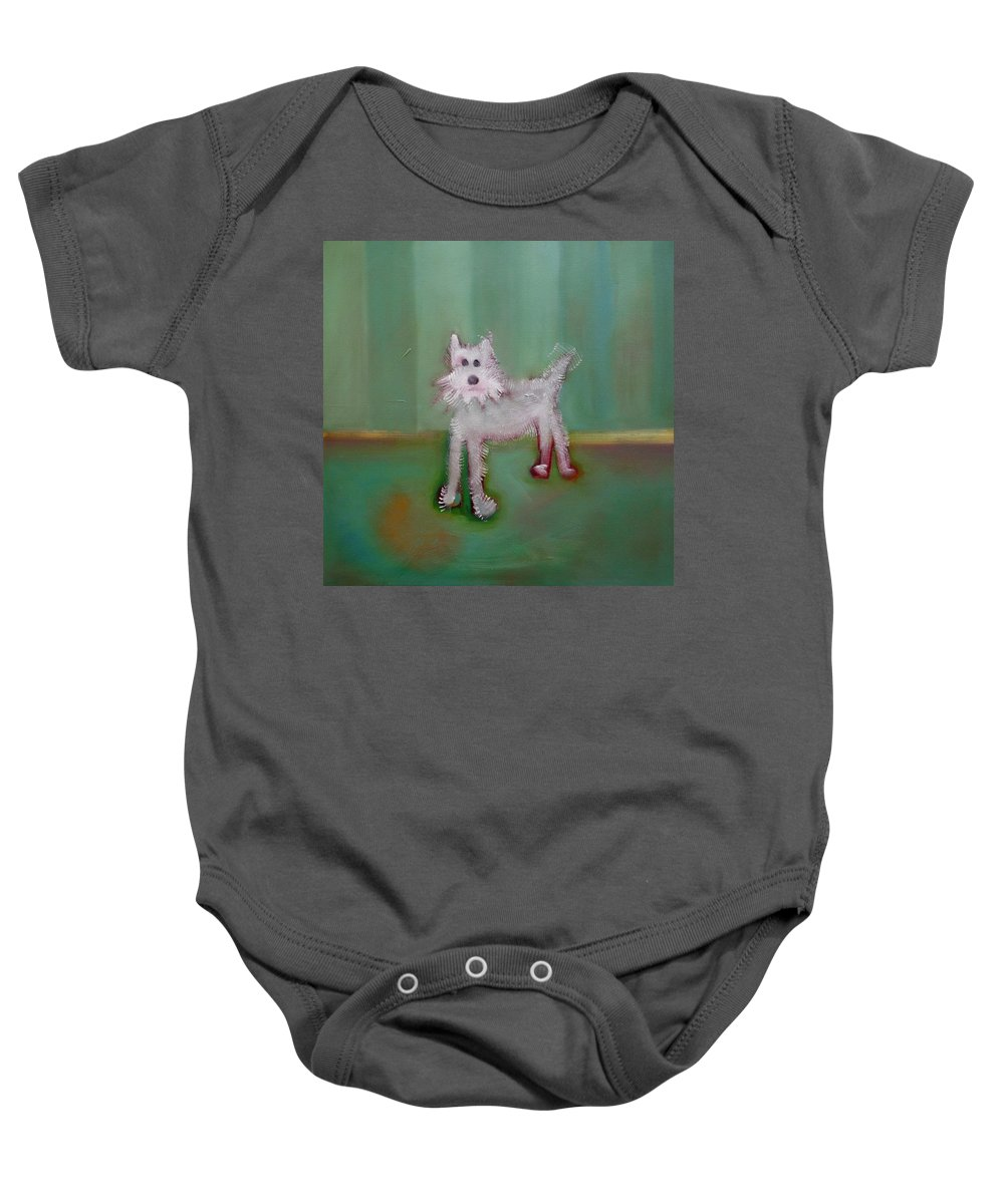White Puppy Baby Onesie featuring the painting Snowy by Charles Stuart