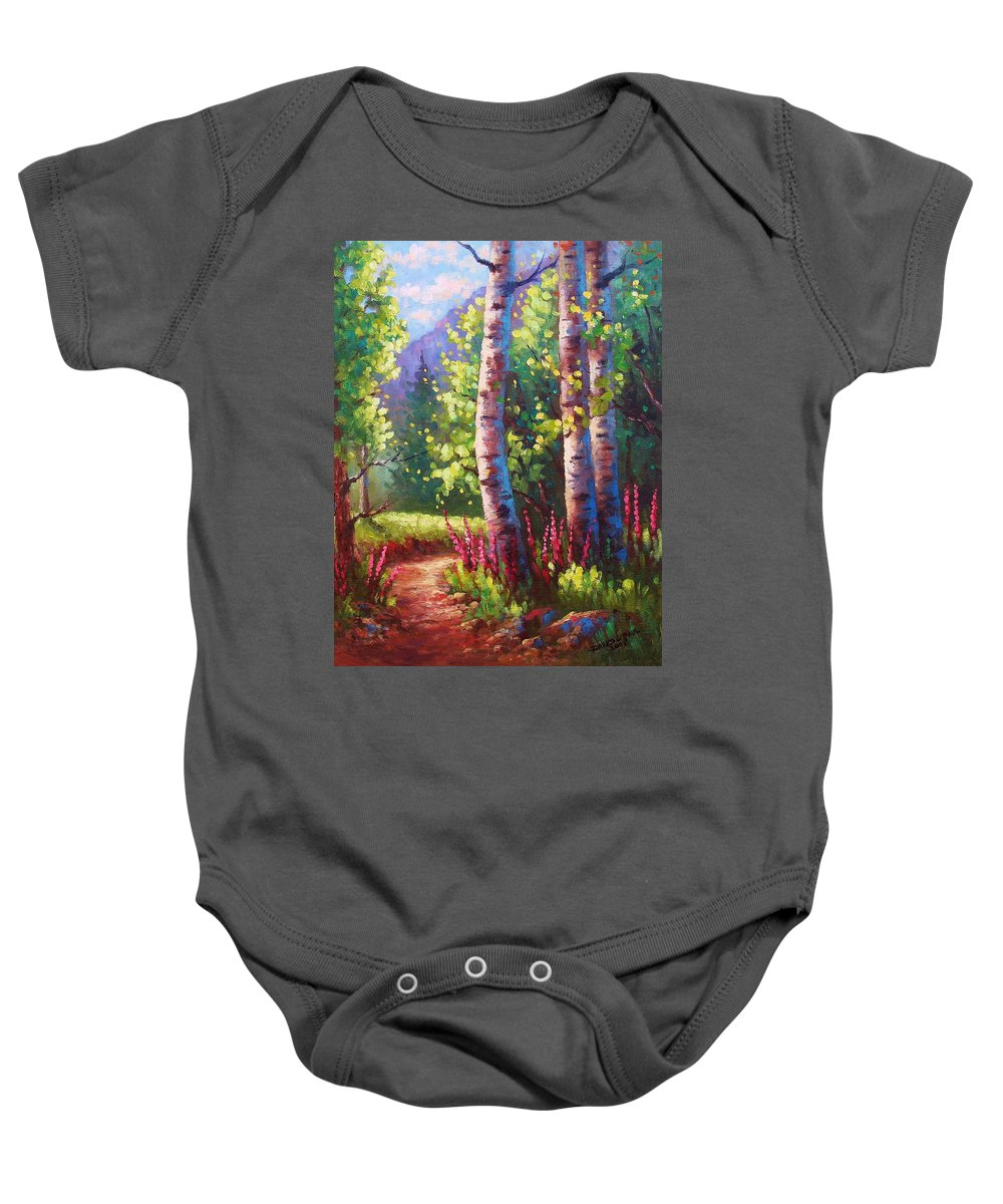 Aspen Baby Onesie featuring the painting Spring Path by David G Paul