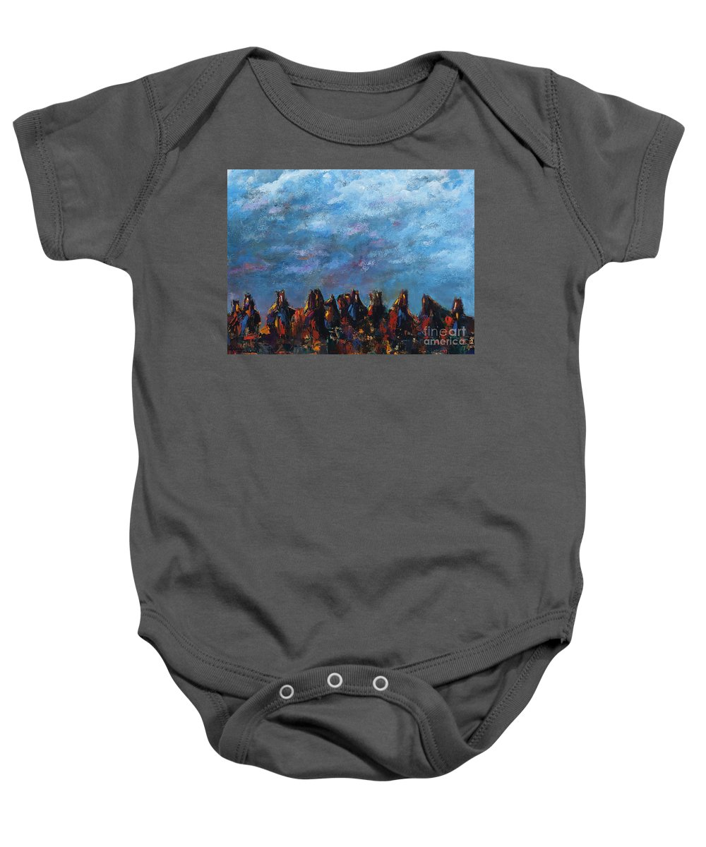 Horses Baby Onesie featuring the painting Stampede by Frances Marino