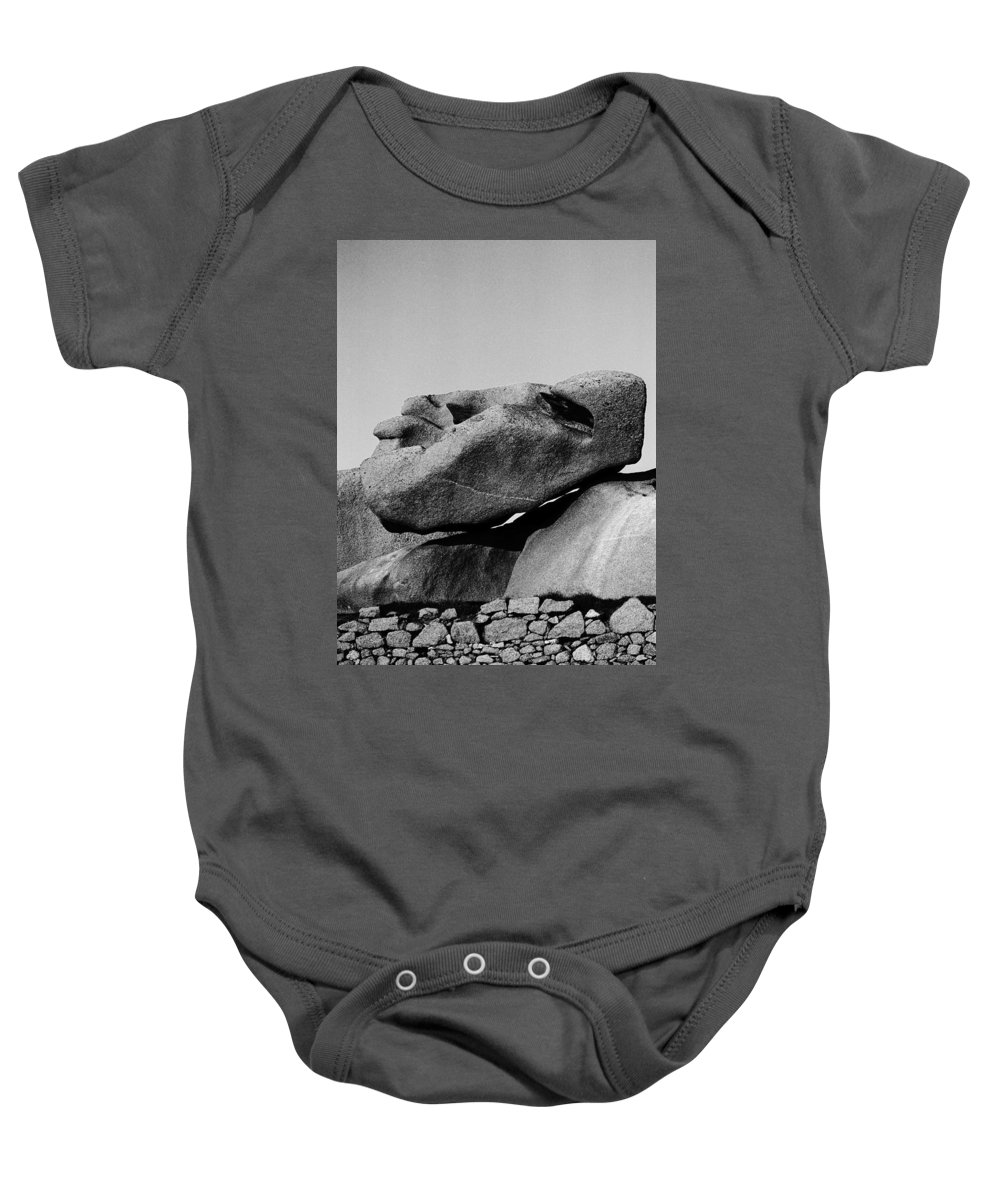 Stoneface Baby Onesie featuring the photograph Stoneface by Heinz Baade